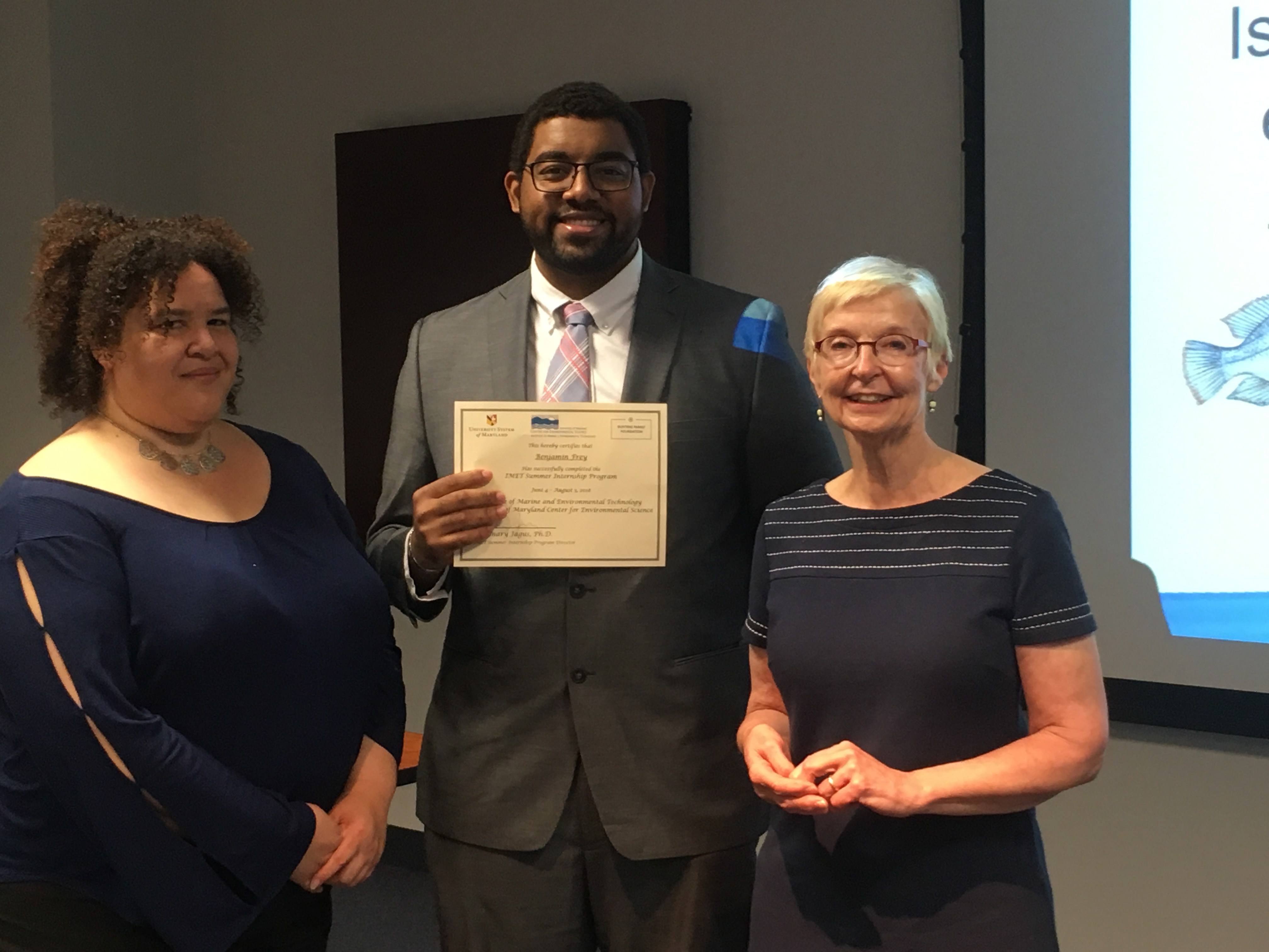 Ben Frey with Drs. Rose Jagus and Kate Gillespie