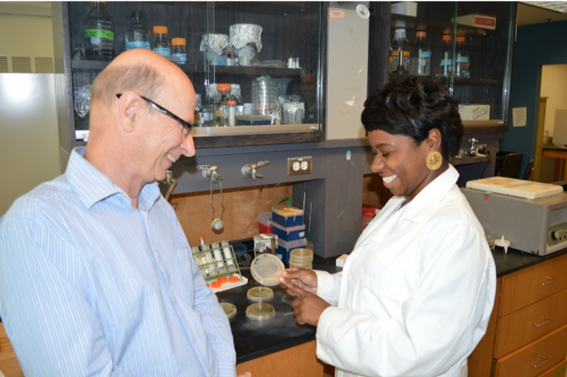 Dr. Jeanette Davis showing a sample to Dr. Russell Hill in their lab