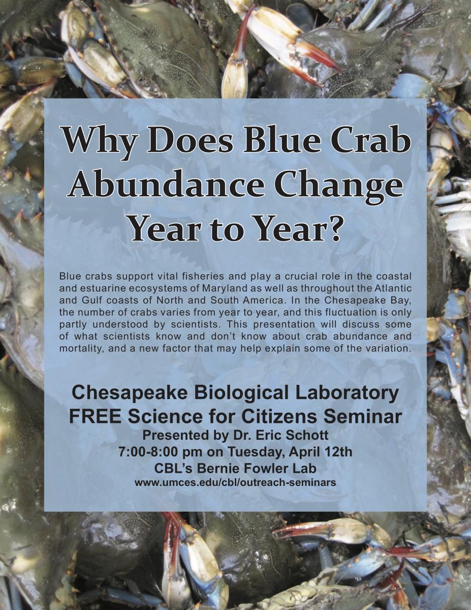 Poster promoting Schott Crab Abundance seminar