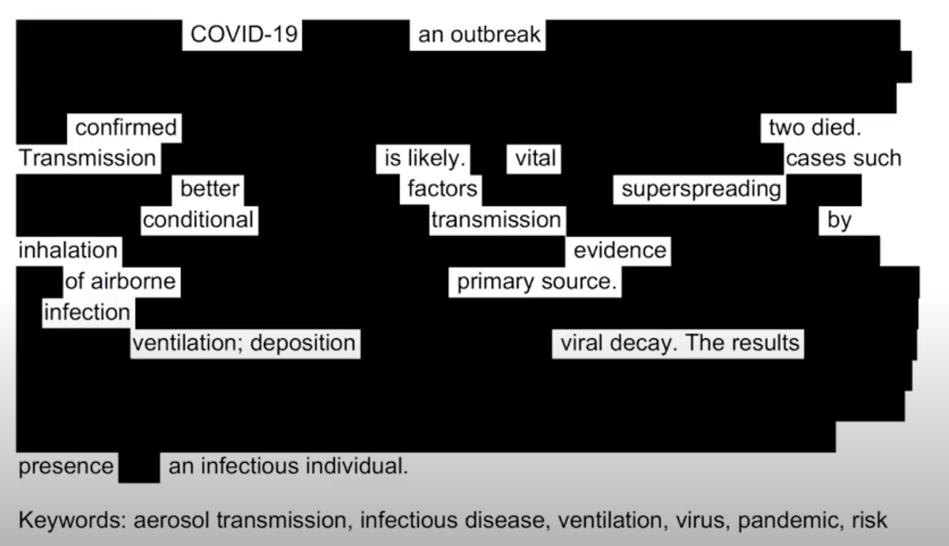 Black-out Poem: COVID-19 an outbreak confirmed two died. Transmission is likely. Vital cases such better factors superspreading conditional transmission by inhalation evidence of airborne primary source. infection ventilation; deposition viral decay.