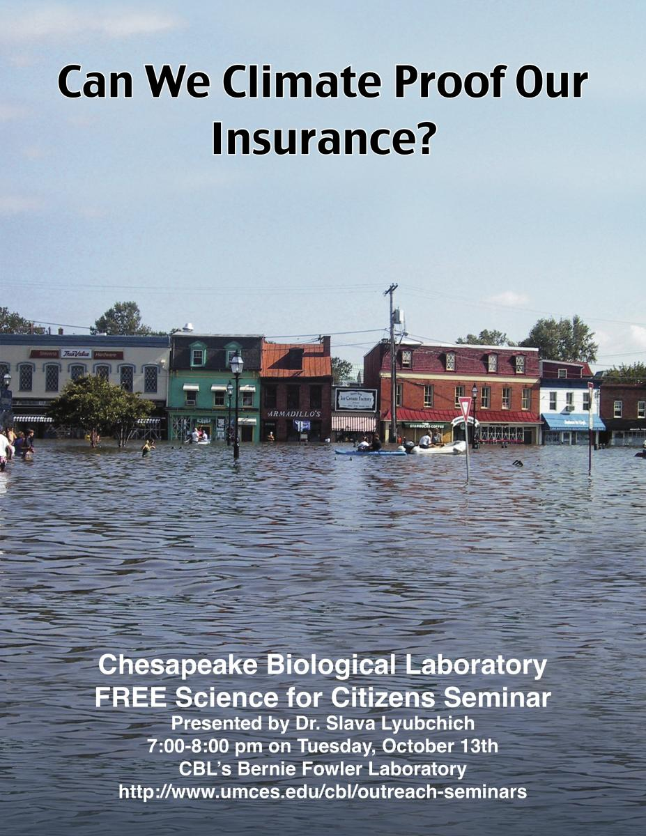 Poster promoting Climate Proof Insurance seminar