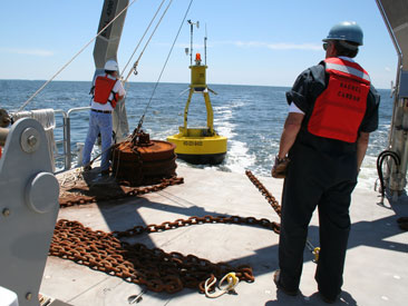cbos buoy being prepared for deployment