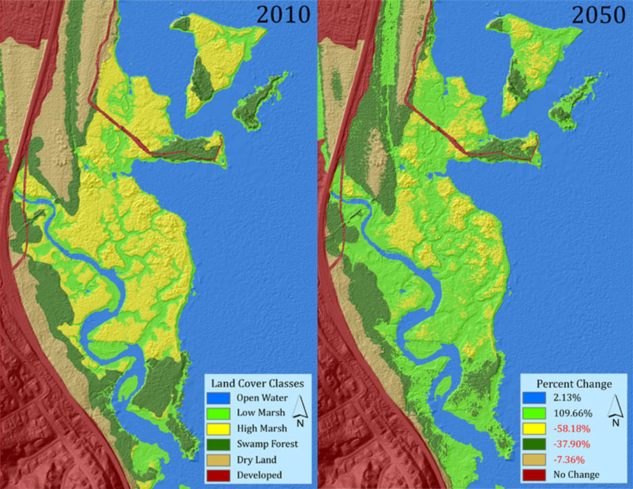 Maps of SLAMM projected habitat change for Dyke Marsh Preserve from 2010 to 2050