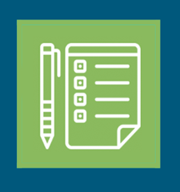 Daily health screening icon, a pen and a checklist