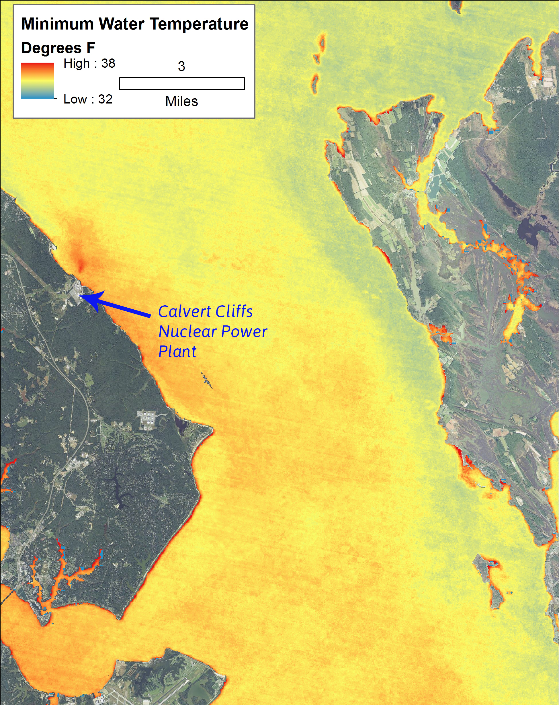 Map displaying impact of power plants on WST along the shoreline of the Chesapeake Bay