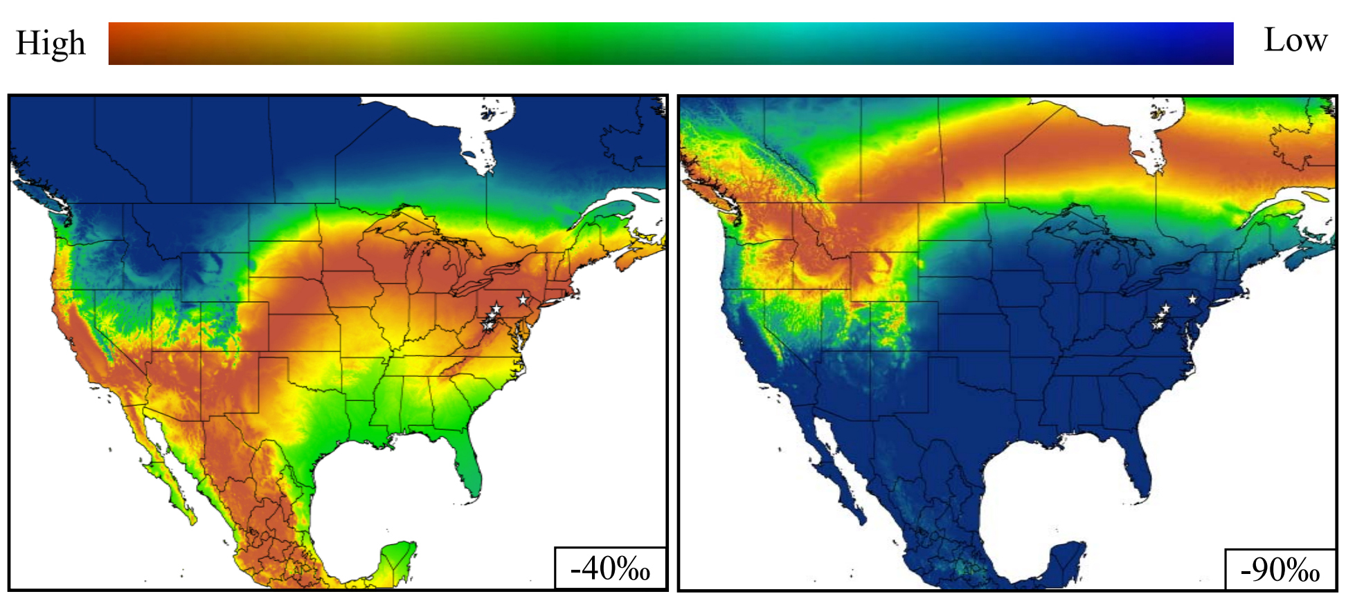 Representative likelihood-of-origin maps for two different hoary bats