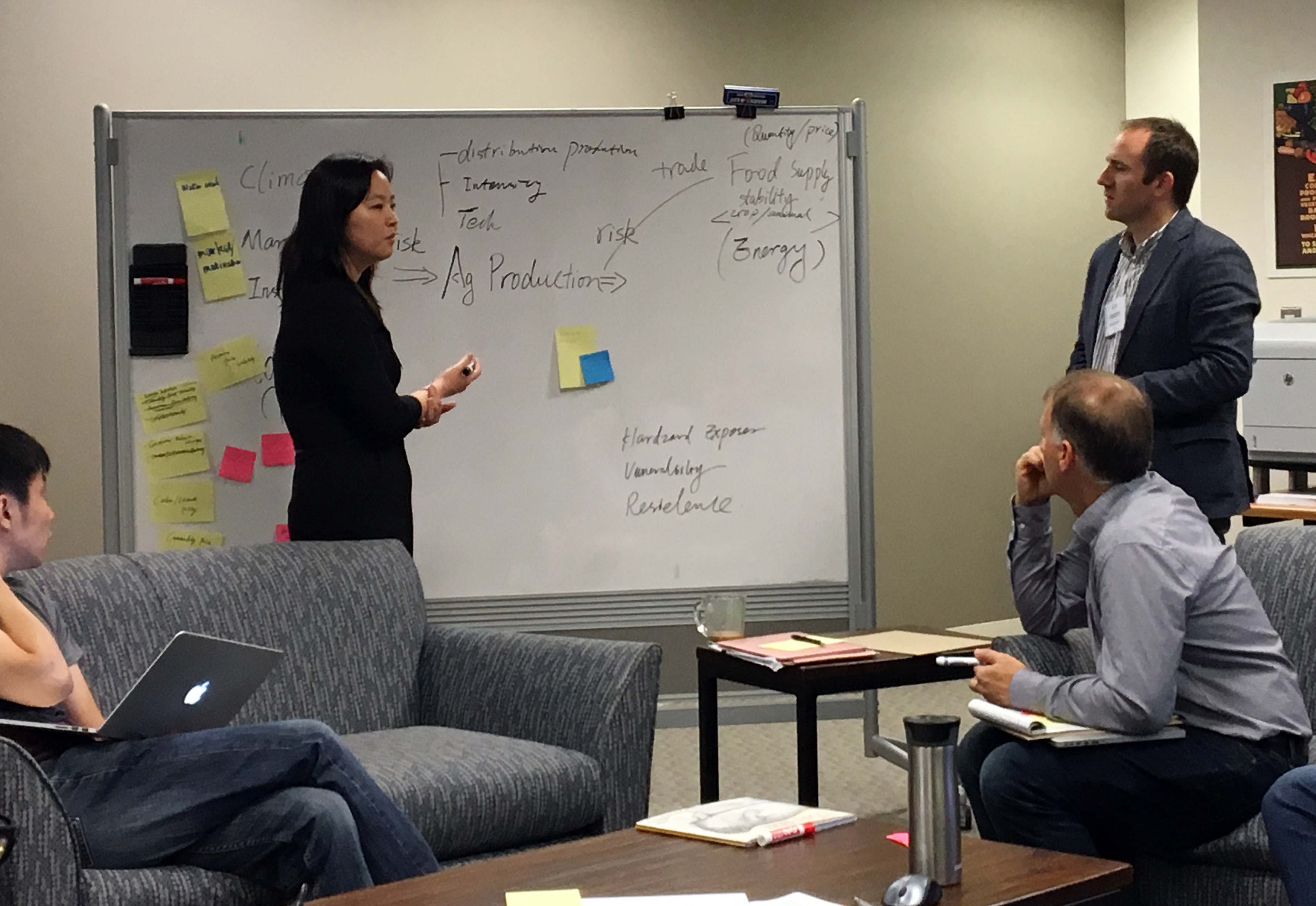 Xin Zhang leads at a sustainable agriculture matrix workshop in Annapolis