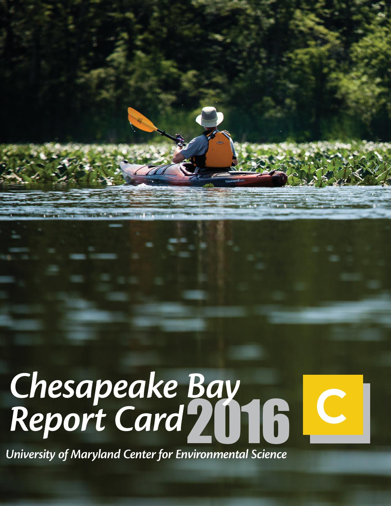 Cover of the Chesapeake Bay report card for 2016, featuring a kayaker