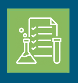 Science equipment and a checklist graphic