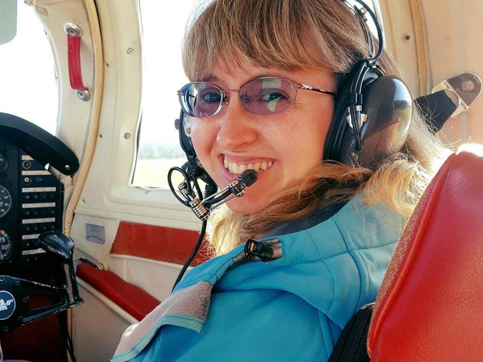 Helen Bailey on a plane for aerial surveys of dolphins in Cheaspeake Bay