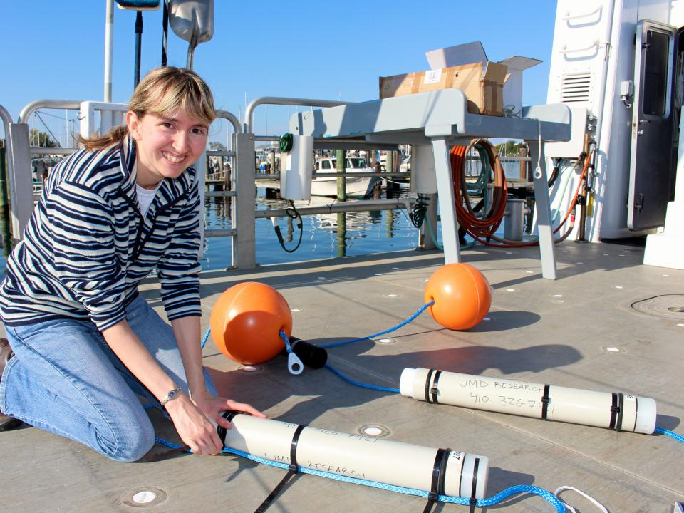 Helen Bailey readies acoustic monitors to track marine mammals off coast of Ocean City