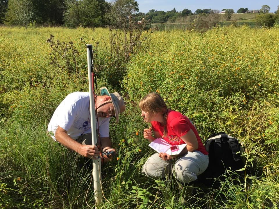 Two scientists work in a field to investigate groundwater.