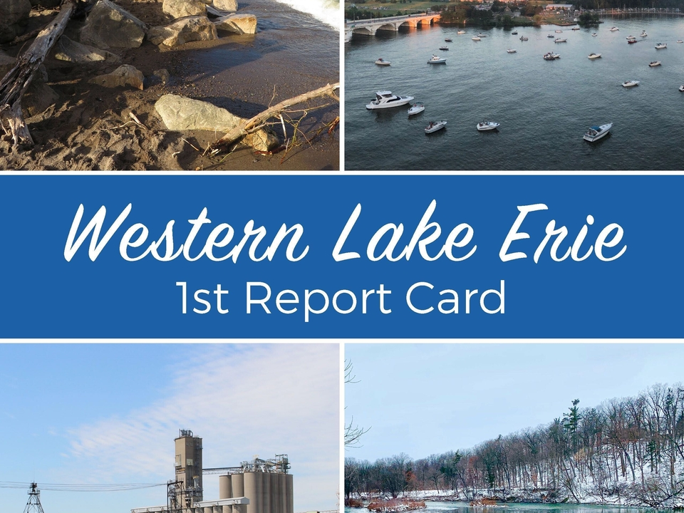 Cover of an environmental report card for Western Lake Erie with four total pictures of surrounding area.