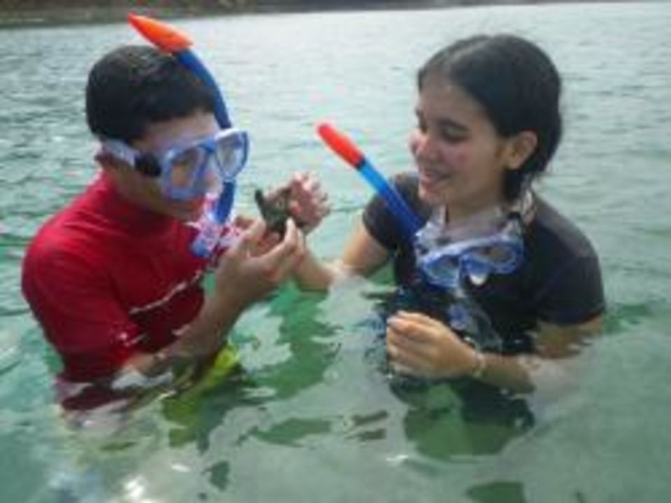 Students in the water in snorkel masks in Puerto Rico