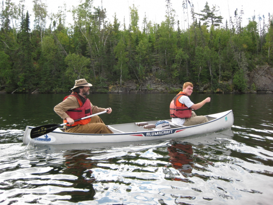 Mark Cochrane and a master's student of his, Chris Moran, canoe through Minnesota.