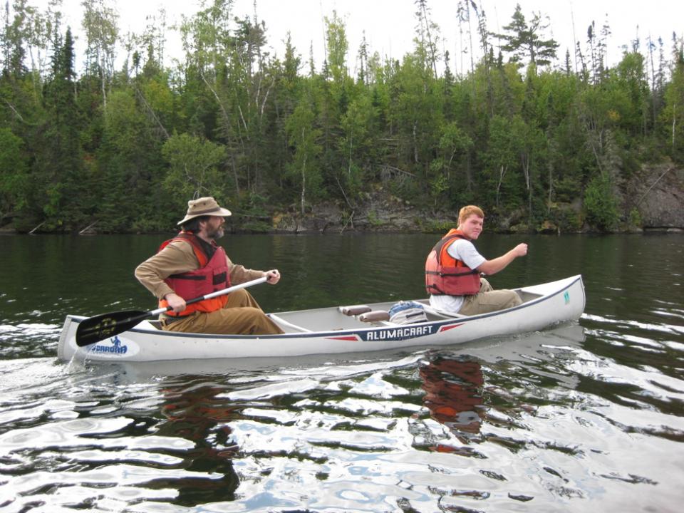 Mark Cochrane and a master's student of his, Chris Moran, canoe through Minnesota.
