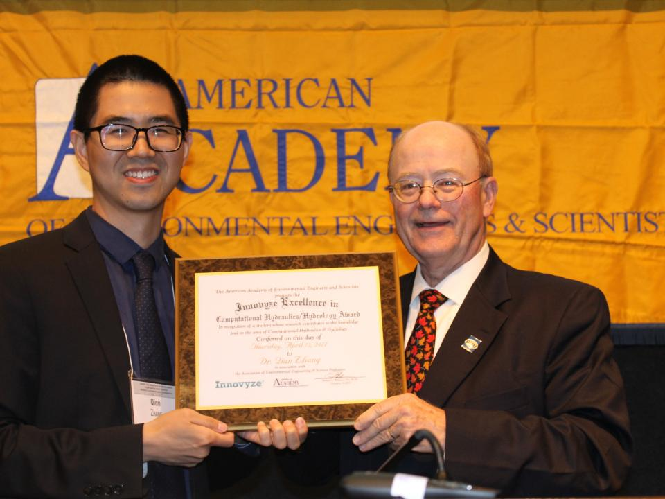UMCES' Qian Zhang receives the Innovyze Excellence in Computational Hydraulics/Hydrology Award from the American Academy of Environment Engineers and Scientists.