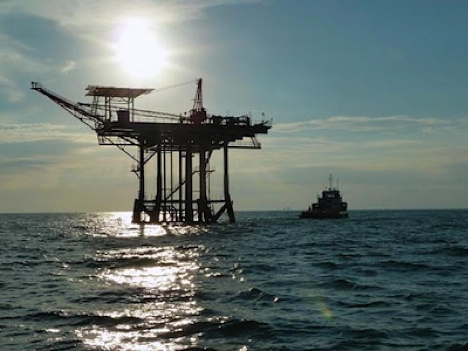 Oil rig in Gulf of Mexico. Photo by James Pierson