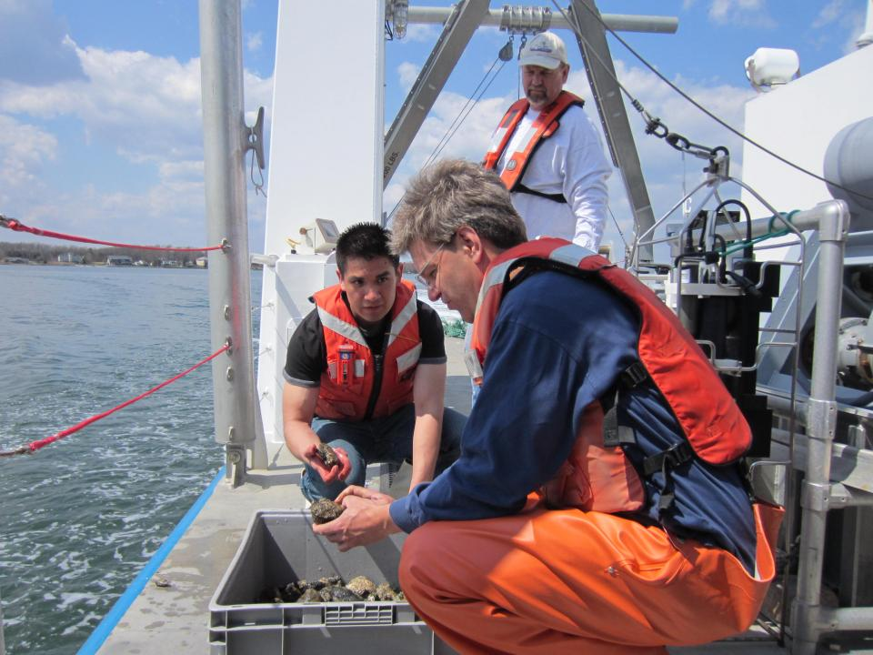 Dave Secor teaches from the Rachel Carson Research Vessel.