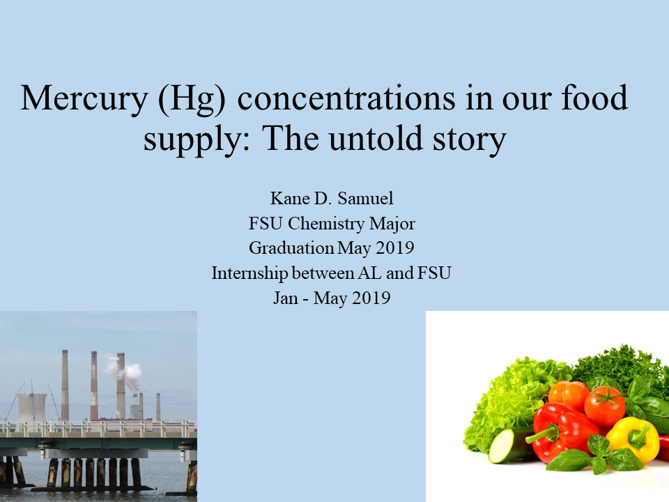 Title slide from presentation on Mercury concentrations in our food supply
