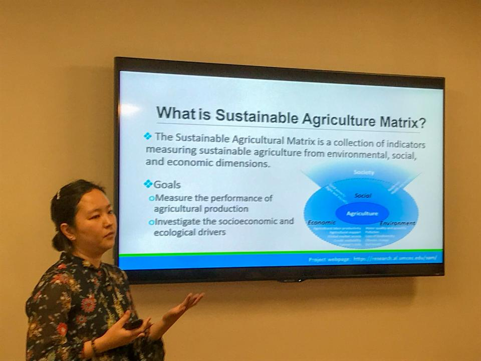 "Dr. Xin Zhang presents SAM at the the Food and Agricultural Organization of the United Nations (FAO ) ""Measuring Progress Sustainable Agriculture"" roundtable on June 21 in Washington D.C."