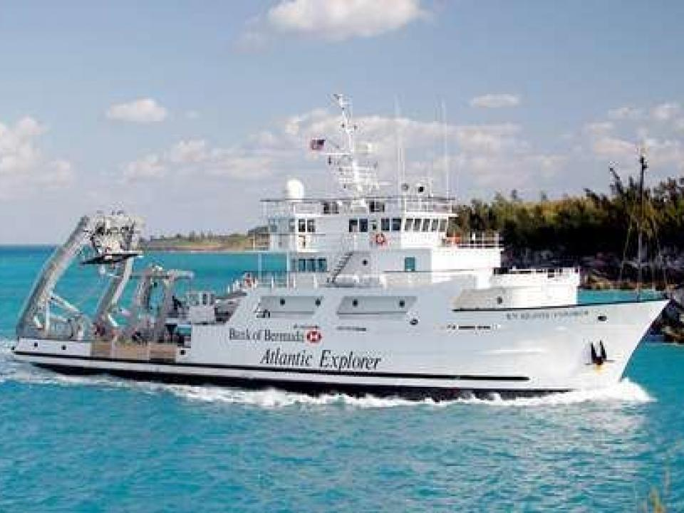 Research vessel Atlantic Explorer in blue waters off the coast of Bermuda