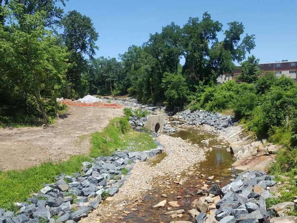 urban stream under restoration next to development