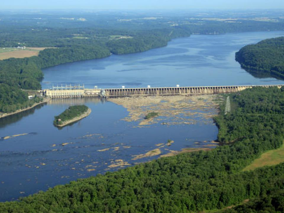 An aerial view of the Conowingo Dam
