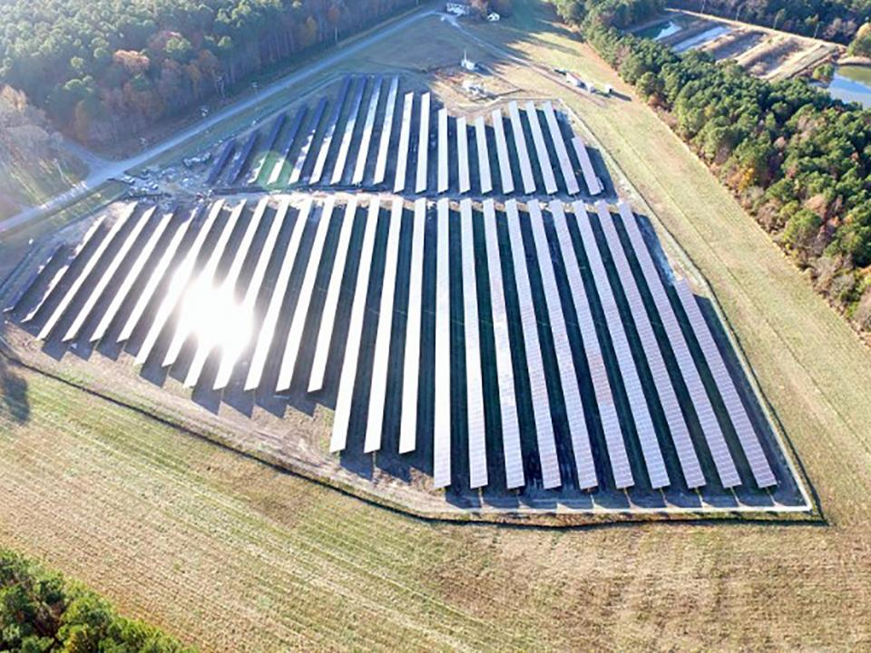 An aerial view of the solar field at Horn Point Laboratory.