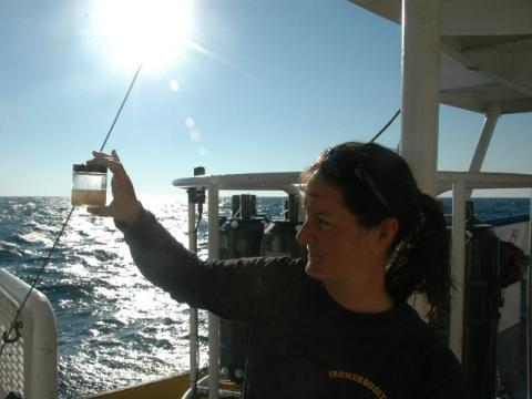Brianne Walsh takes zooplankton sample from the Gulf of Mexico to investigate what is able to eat the red tide organism Karenia brevis.