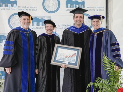 UMCES President Emeritus Don Boesch, Appalachian Laboratory Director Eric Davidson, awardee Matt Fitzpatrick, and UMCES President Peter Goodwin.