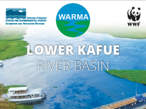 The cover of the 2019 Lower Kafue River Basin report card showcasing a bridge going over water.
