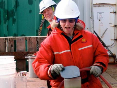 Jackie Grebmeier prepares to core the Arctic floor.