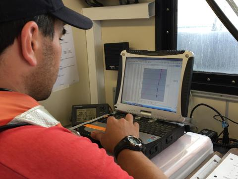 JeremyJeremy Testa on R/V Rachel Carson doing ocean acidification research.