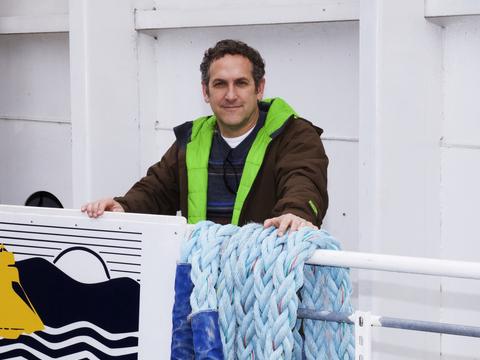 Dr. Tamburri on a barge