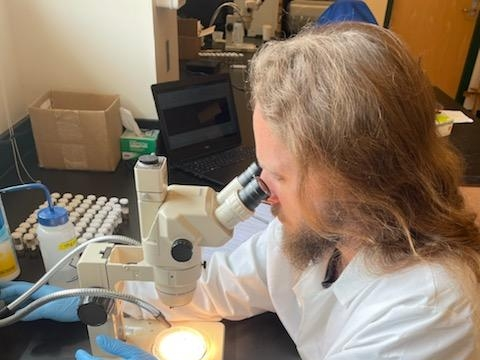Intern Richard Johnson, wearing white lab coat, examines samples under a microscope.