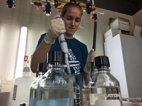 Graduate student Christine Knauss in the laboratory