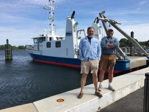 R/V Rachel Carson's crew is Capt. Michael Hulme (left) and Mate/Engineer Robert Nilsen