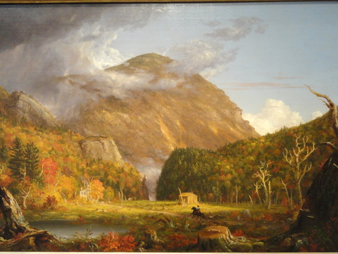 Painting of mountains on horizon with meadow and pond in the foreground