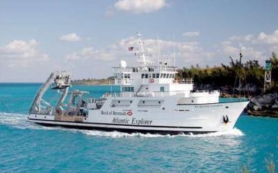 Research vessel Atlantic Explorer in blue waters off the coast of Bermuda
