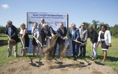 The groundbreaking for a solar field at Horn Point Laboratory