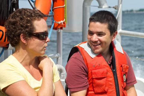 Dr. Jeremy Testa and IAN's Jayne Thomas participating in a Chesapeake Bay water quality monitoring research cruise.