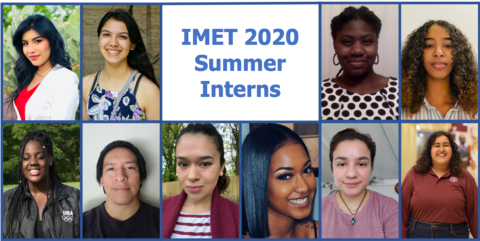 """photos of 10 people in frames with text, """"IMET 2020 Summer Interns"""""""