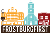 """Artistic representation of city street with """"Frostburg First: underneath."""
