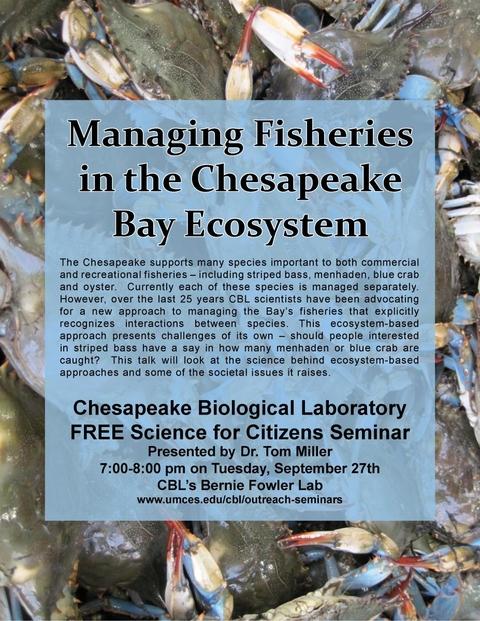 Poster promoting Managing Fisheries seminar.