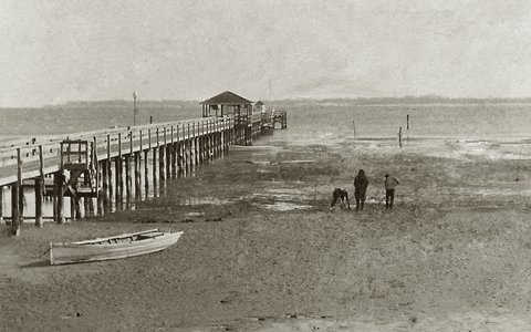 Historic photo of pier at Solomons