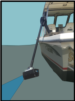 An illustration of the ARIS sonar device in action.