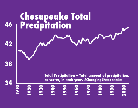 graph showing an increase of rain over time in the Chesapeake Bay area
