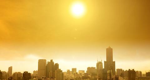city skyline under burning sun