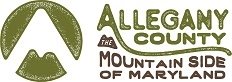 """Logo with artistic representation of a mountain next to text that reads """"Allegany County Mountain Side of Maryland"""""""